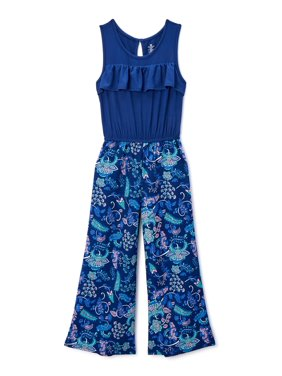One Step Up Girls Ruffle Tank Wide Leg Jumpsuit, Sizes 4-12