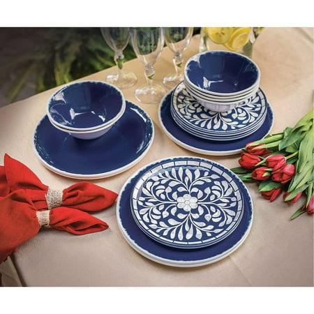 Melamine 18-PC Dinnerware Set, Mother of Pearl Design, Cobalt Blue Cobalt Blue Dinnerware Set