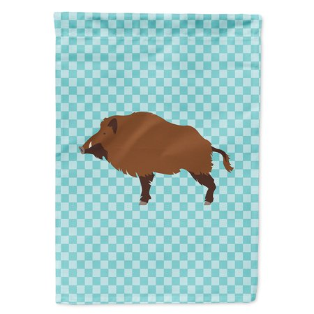 Image of Wild Boar Pig Blue Check Garden Flag