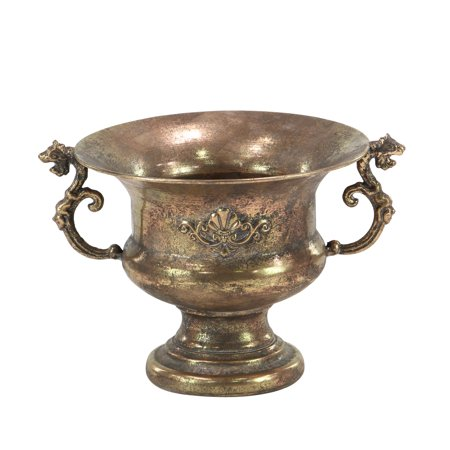 Decmode Traditional Iron Scrolled Goblet Urn Planter, Tarnished Brass - Iron Metal Urn