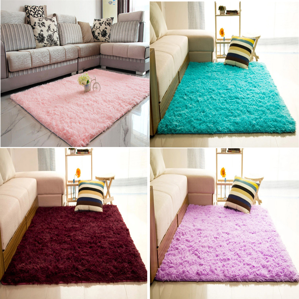 94.5''x63''(2pcs 47.2''x 31.5'') Modern Soft Fluffy Floor Rug Anti-skid Shag Shaggy Area Rug Bedroom Dining Room Carpet Yoga Mat Child Play Mat