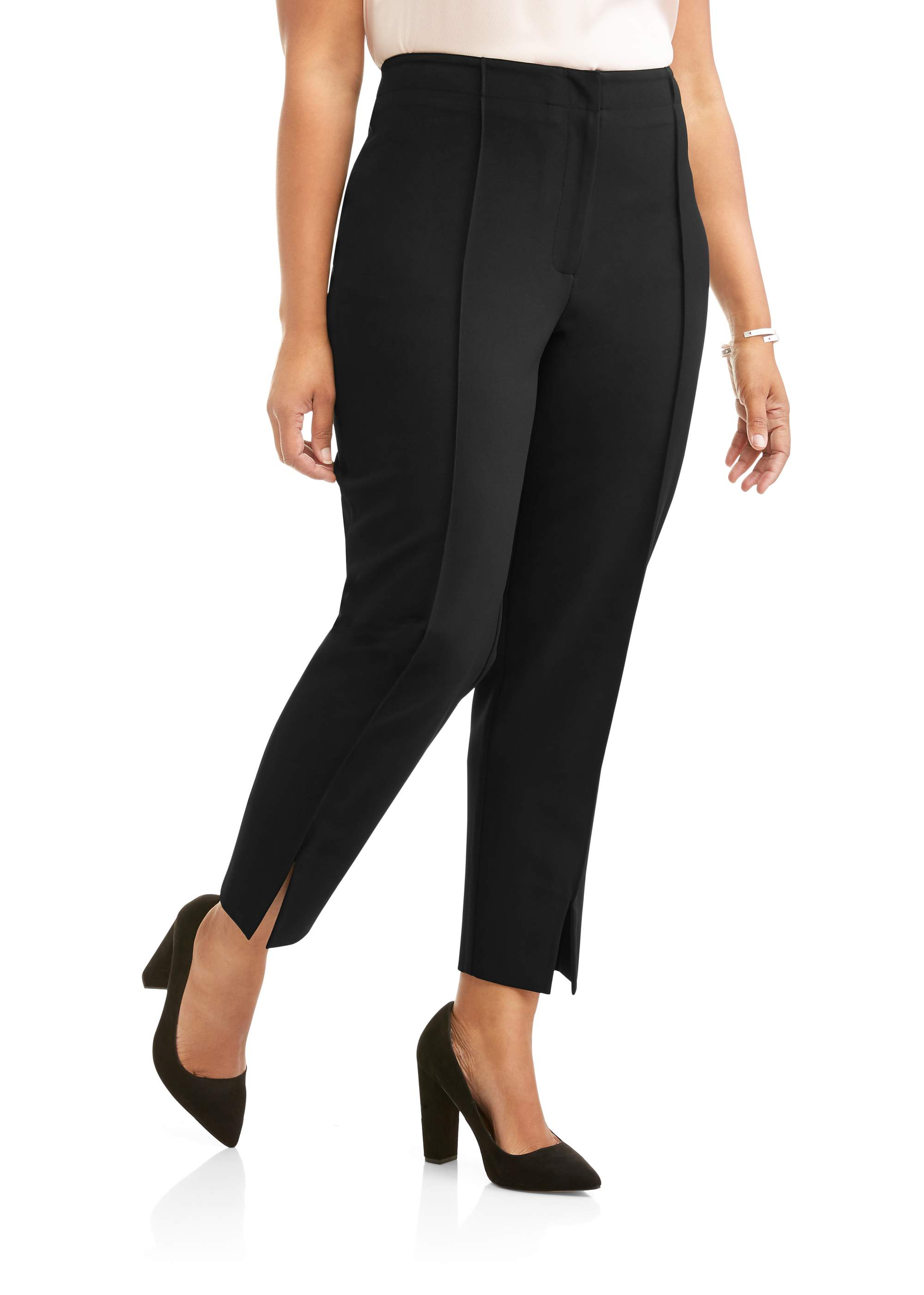 Women's Plus Tapered Ankle Career Pant with Front Ankle Slit