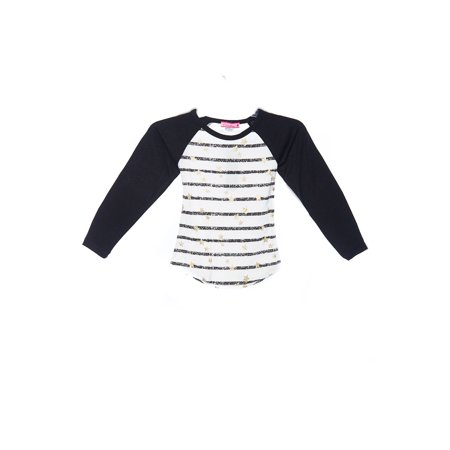 Girls Kids Fashion Stripe Print Raglan Top T-Shirt GTS-1611-4-Black