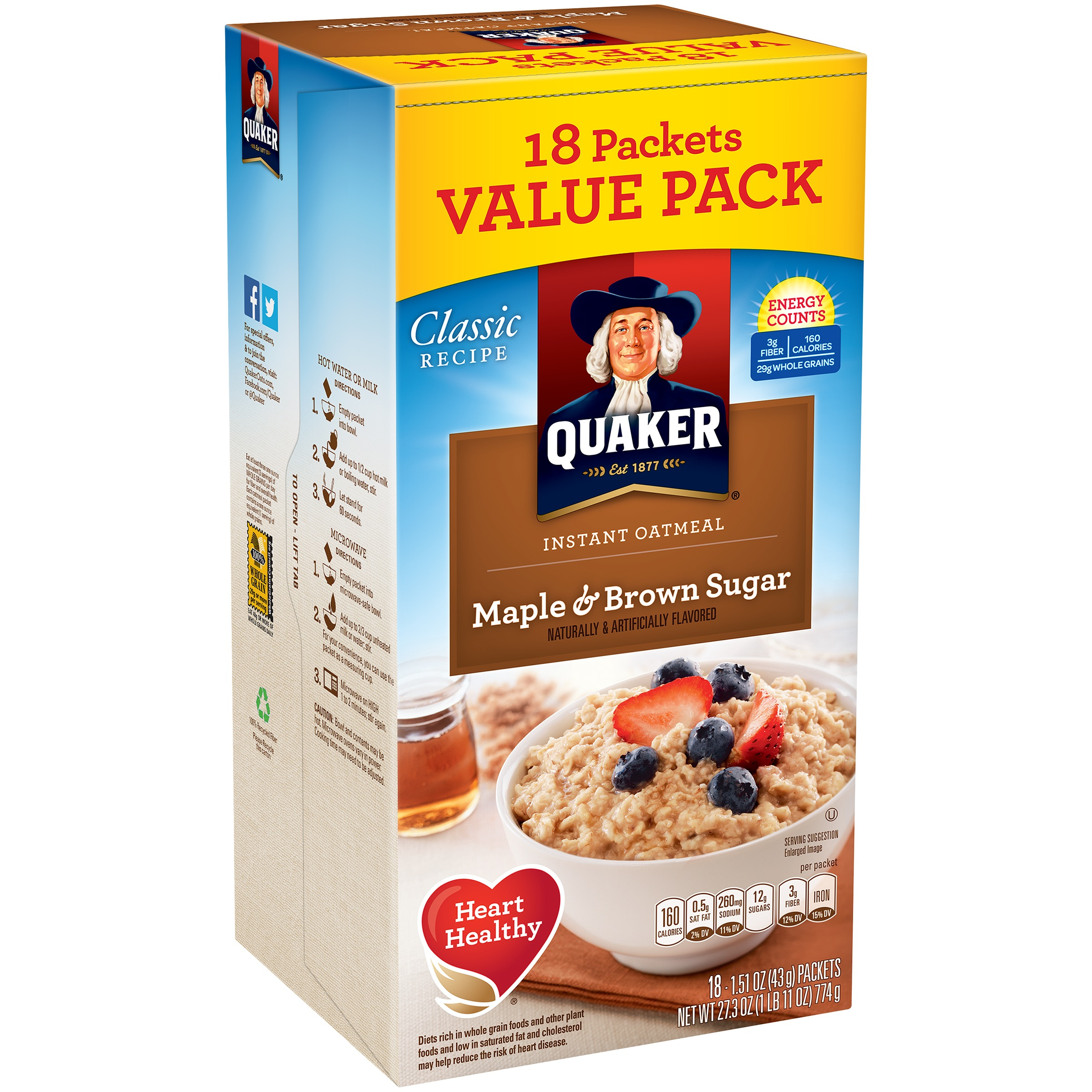 Quaker Instant Oatmeal, Maple & Brown Sugar, 18 Packets