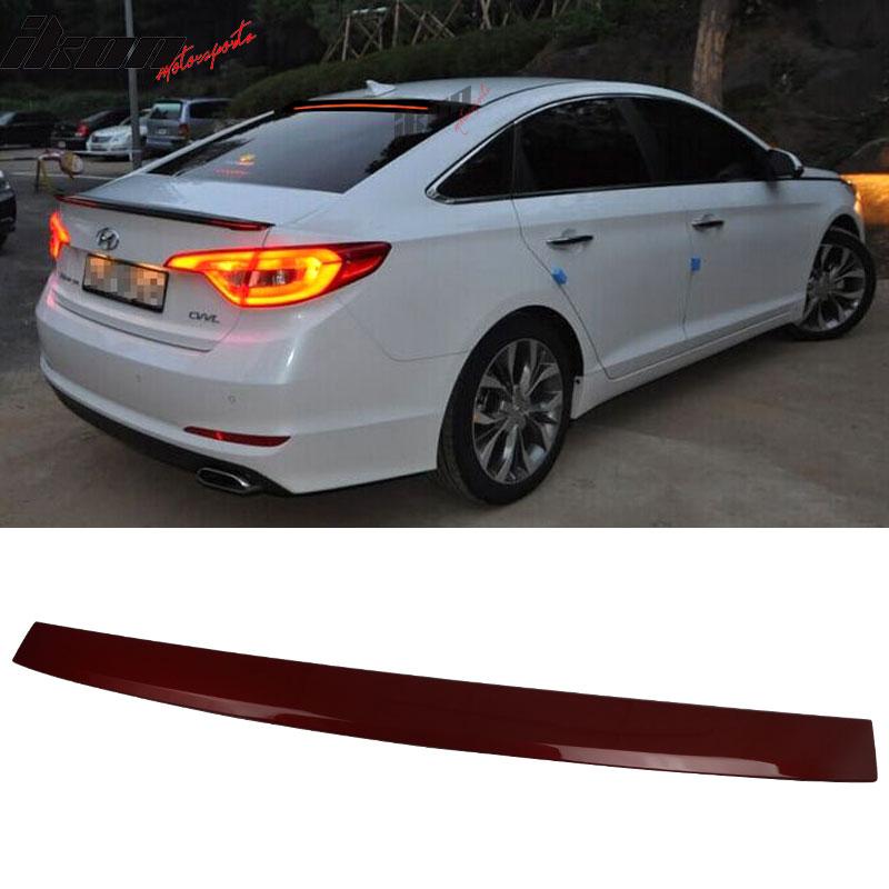 Fit 15-17 Hyundai Sonata Roof Spoiler LED Light Bar ABS