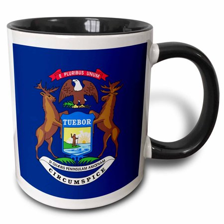 3dRose Flag of Michigan US American state United States of America USA - elk moose eagle coat of arms blue, Two Tone Black Mug, 11oz