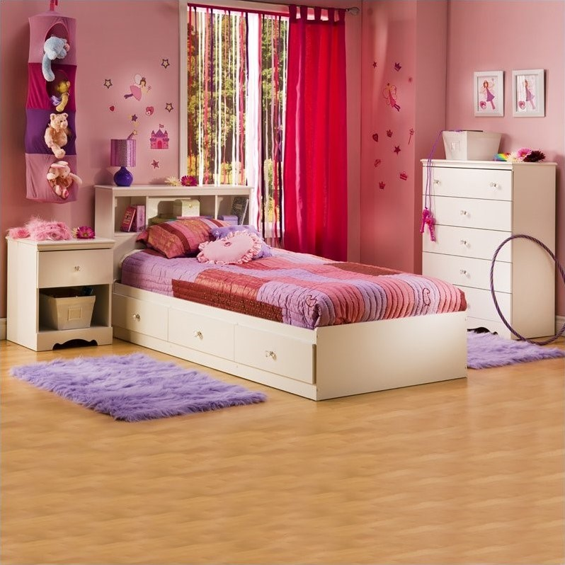 Crystal White Kids Twin Captain's Storage Bed 3 Piece Bedroom Set
