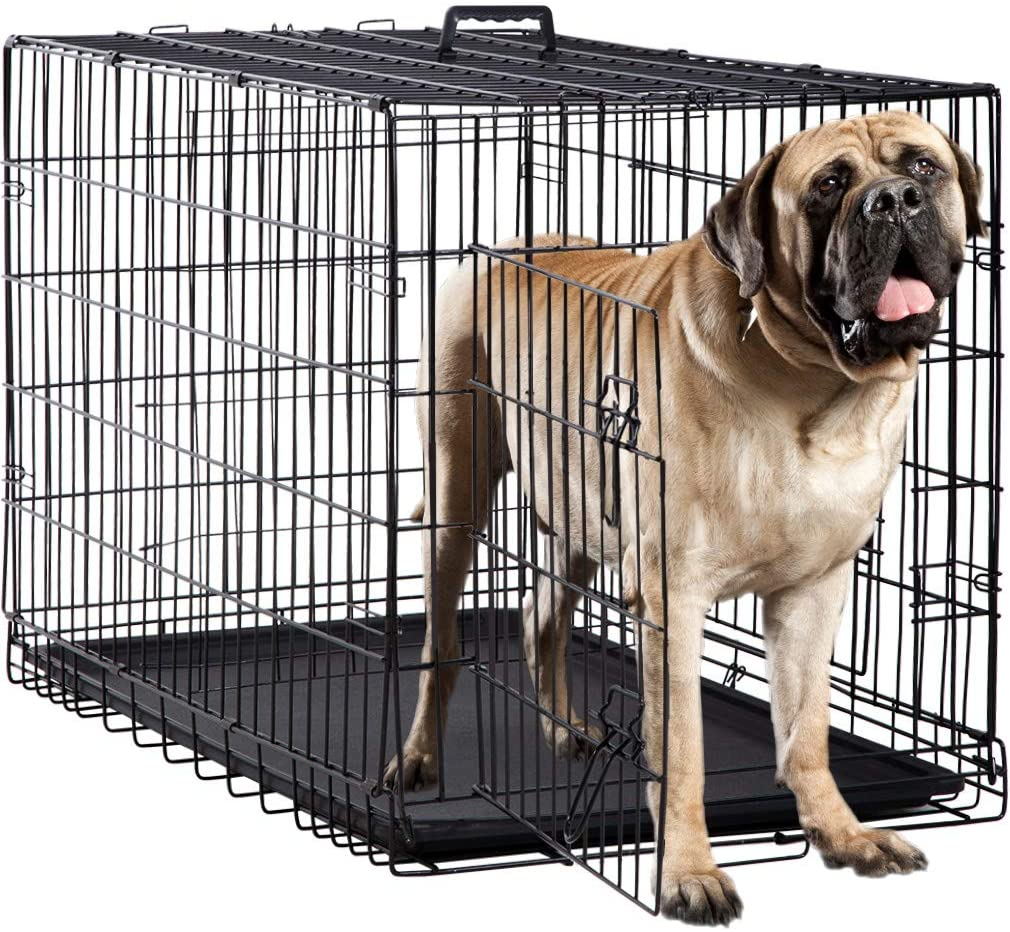 Dog Cage Crate Heavy Duty Strong Metal 48//36 Inches Large Pet Kennel Playpen for Training Black Indoor Outdoor Dog Enclosure with Lockable Wheels /& Plastic Tray /& Double Doors /& /& Locks Design