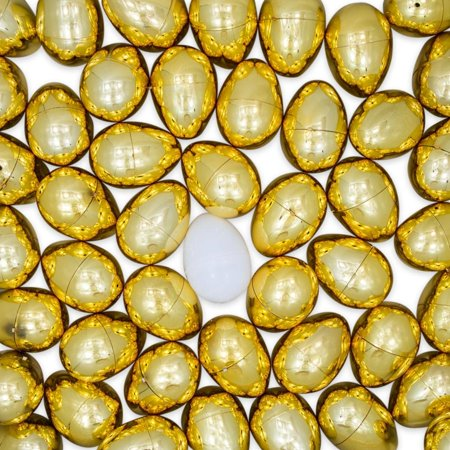 Set of 47 Golden Plastic Eggs + 1 White Easter Egg