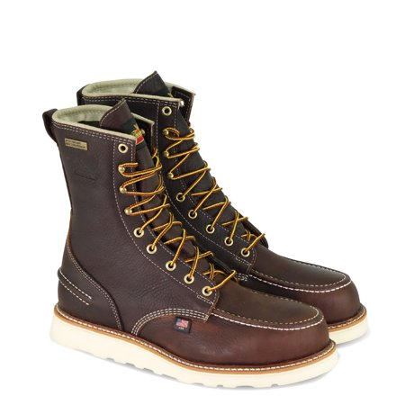 """Thorogood 1957 8"""" Moc Toe MAXwear Wedge Waterproof Non-Safety Toe Boot, Briar Pitstop - 11 D US"""