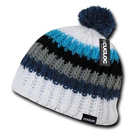 White Blue Warm Woven Winter Sweater Pom Pom Cable Slouch Knit Beanie Hat  Cap 3fbdb41f699