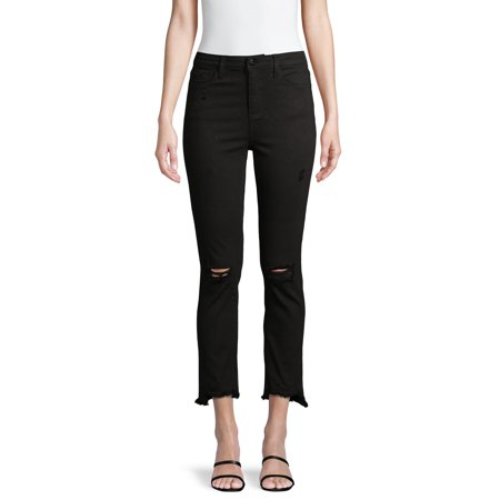 Vervet Women's High-Rise Raw Step Hem Slim Crop Jeans