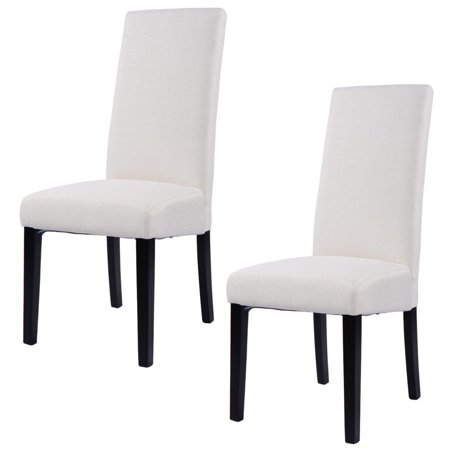 Costway Set of 2 Fabric Dining Chair Armless Accent Upholstered Wood Modern Living Room ()