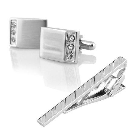 Mens Cufflinks Tie Clip (Crystal Cuff Links Mens Wedding Party Gift Cufflinks+Silver Striped Tie)