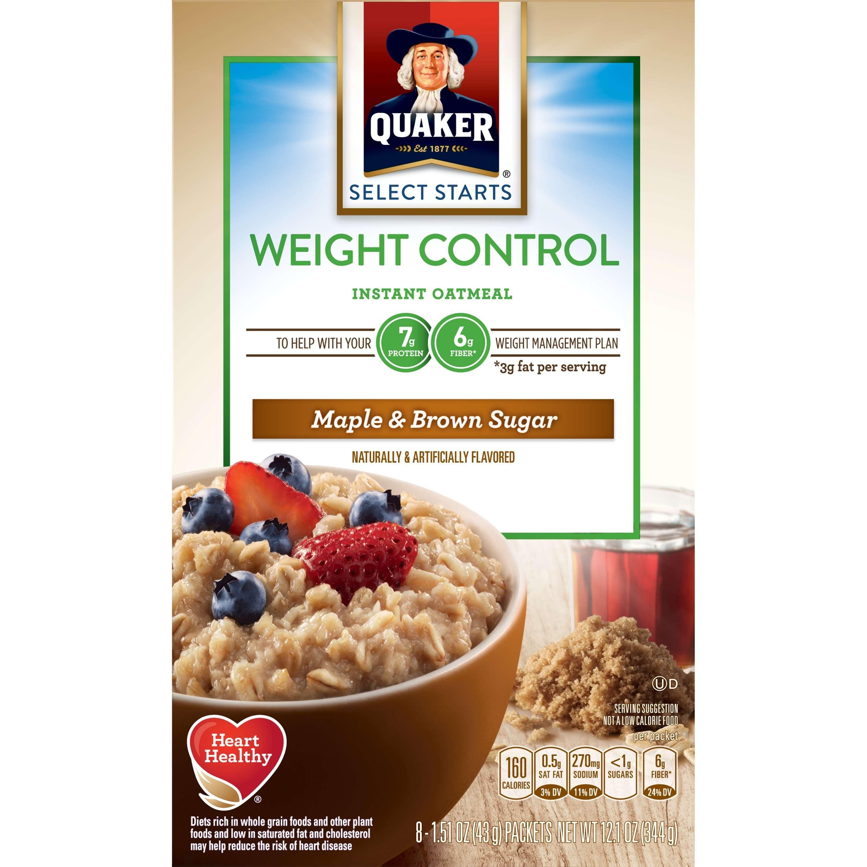 (4 Pack) Quaker Weight Control Oatmeal, Maple Brown Sugar, 1.51 Oz, 8 Ct