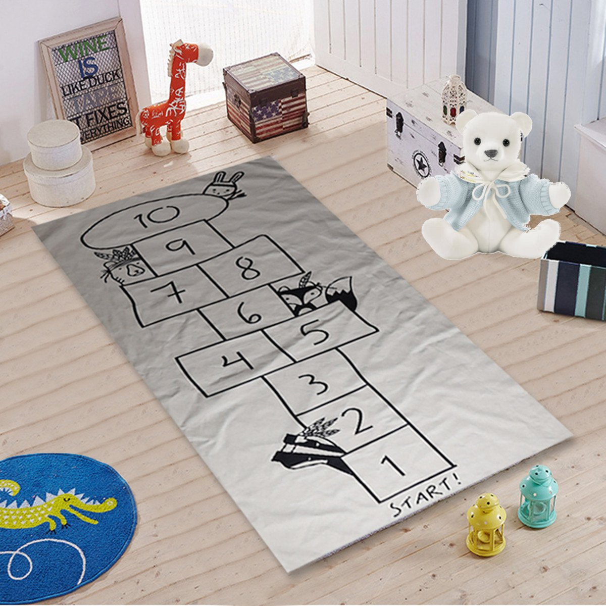 Kids Activity Play Mat,67'' Soft Cotton Baby Kids Game Gym Activity Play Mat Crawling Blanket Floor Rug,Digital Checkers design