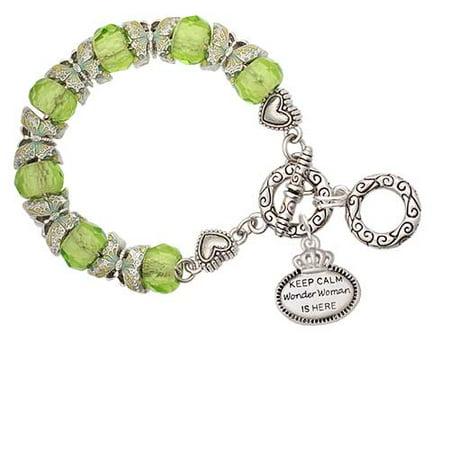 Silvertone Keep Calm Wonder Woman is Here Lime Green Butterfly Bead Charm - Lime Green Womens Bracelets