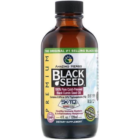 Amazing Herbs Black Seed, 100% Pure Cold-Pressed Black Cumin Seed Oil, 4 fl oz (120 ml)