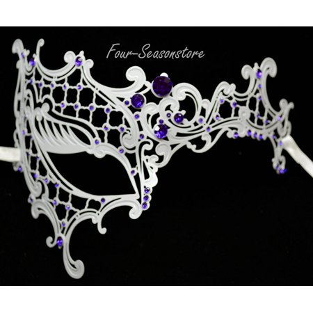 New Women Metal Phantom Mask Laser Cut Venetian Halloween Masquerade Mask Costume Extravagant Inspire Design - White w/ Purple Rhinestones, Simply the.., By KBMasks
