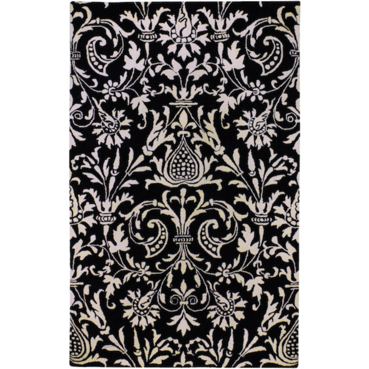 2' x 3' Les Cryne Jardin Winter White and Jet Black Wool Area Throw Rug