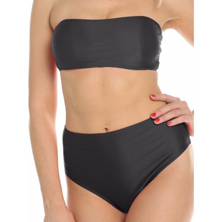 FITTOO Women Swimwear Removable Pad Strap Wrap High Waisted Two-Piece Bikini Sets One Pack Black,S