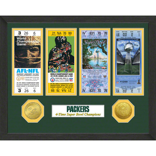 Green Bay Packers Super Bowl Ticket Collection Plaque by The Highland Mint
