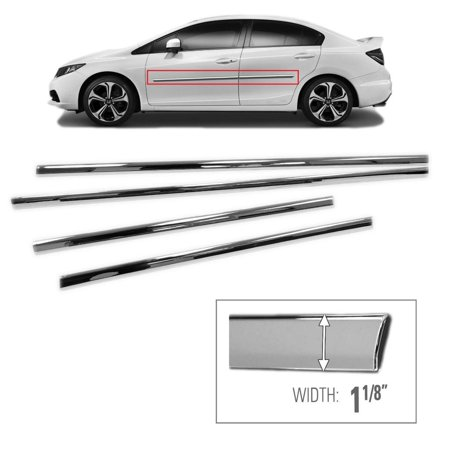 Sizver Chrome Side Skirt Trim For 2012-2015 Honda Civic 4 Door Sedan (Door Skirt)