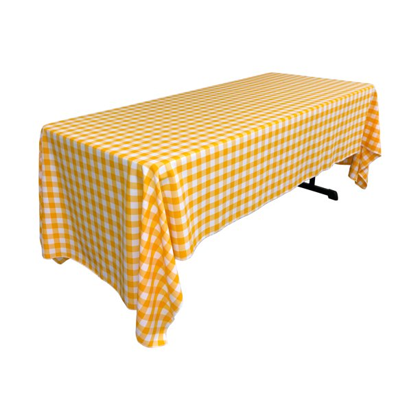 La Linen Polyester Gingham Checkered 60 By 120 Inch Rectangular Tablecloth White And Dark Yellow Walmart Com Walmart Com
