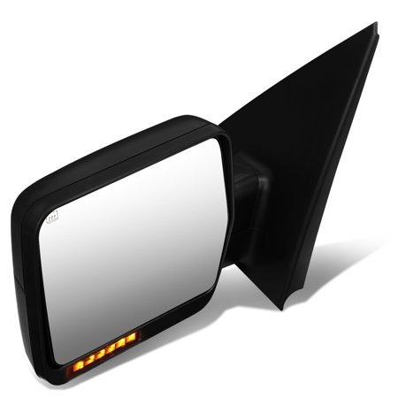Glass Turn Signal Mirrors - For 2004 to 2014 Ford F150 Black Powered Heated Glass + Turn Signal Light Side Towing Mirror (Left / Driver)