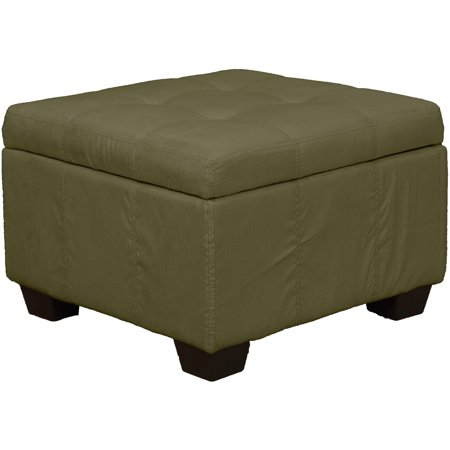 Enjoyable Timeless 24 Inch Square Tufted Padded Hinged Storage Ottoman Bench Suede Olive Green Machost Co Dining Chair Design Ideas Machostcouk
