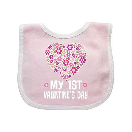 1st Valentines Day Daisy Heart Holiday Baby Bib - New Baby Daisy