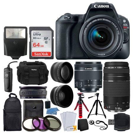 - Canon EOS Rebel SL2 Digital SLR Camera + EF-S 18-55mm f/4-5.6 IS STM Lens + Sandisk Ultra SDXC 64GB 80MB/S Memory Card + Accessory Backpack + Flexible Tripod + UV Filters + Card Reader – Valued Bundle