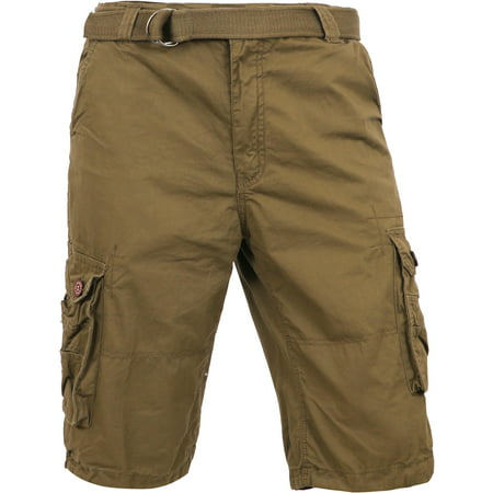 Ma Croix Men's Premium Utility Loose Fit Twill Cargo Shorts with Belt