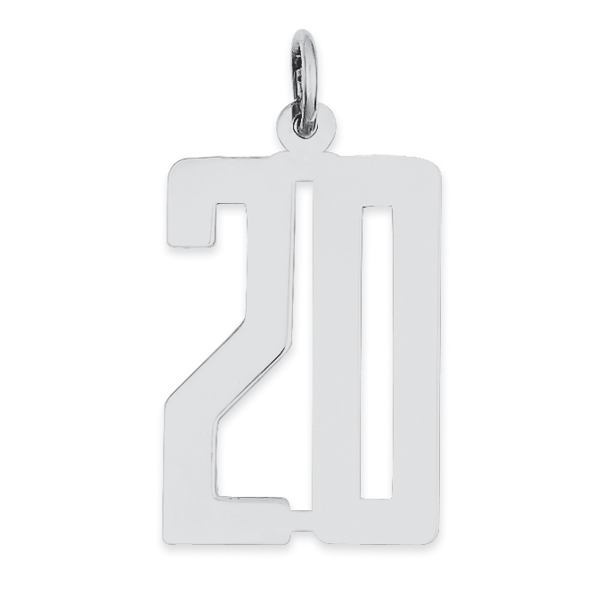 Solid 925 Sterling Silver Small Elongated Polished Number 1 4mm x 20mm