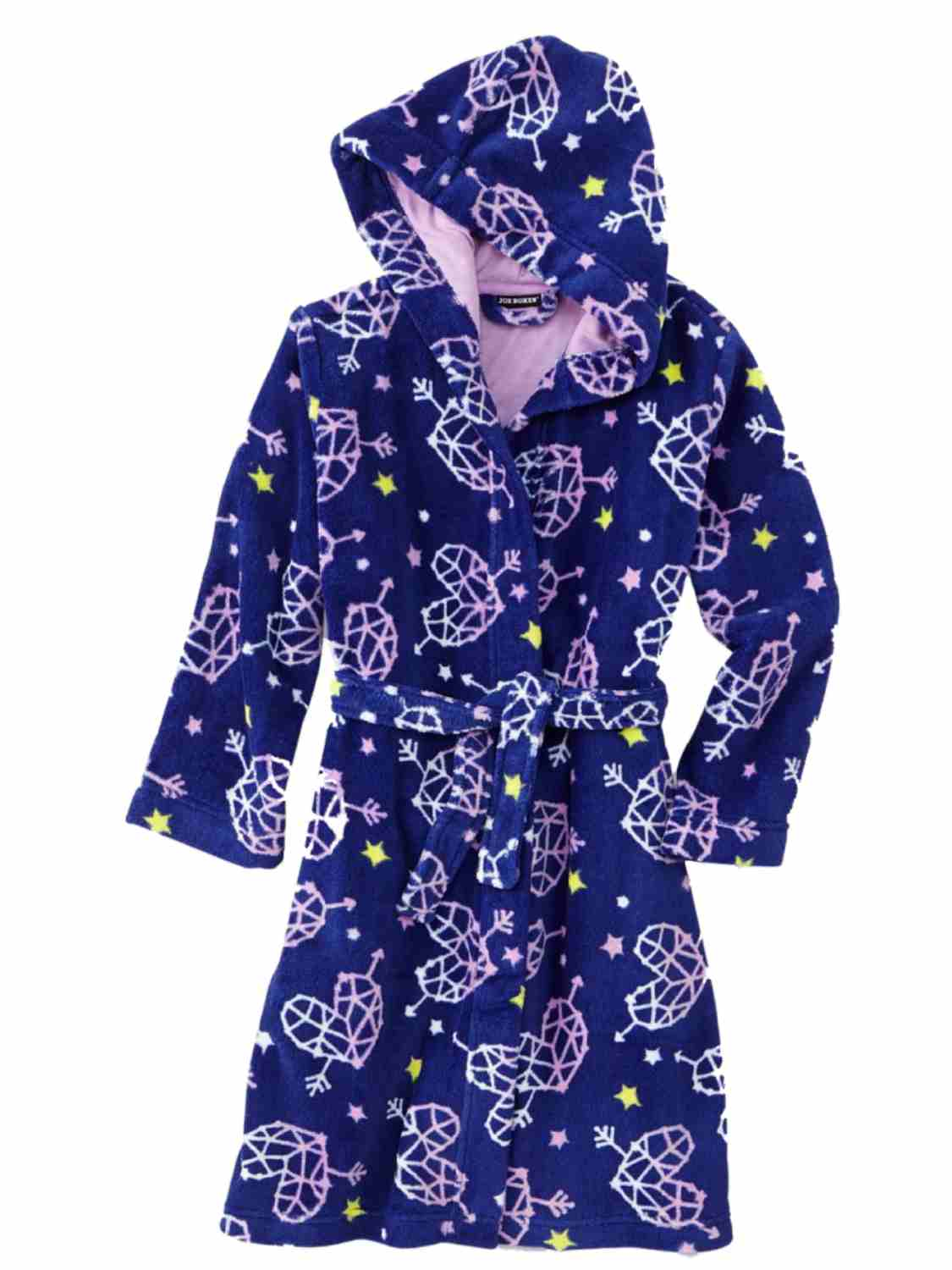 Joe Boxer Girl Blue Fleece Heart Hoodie Bath Robe House Coat Shower Wrap