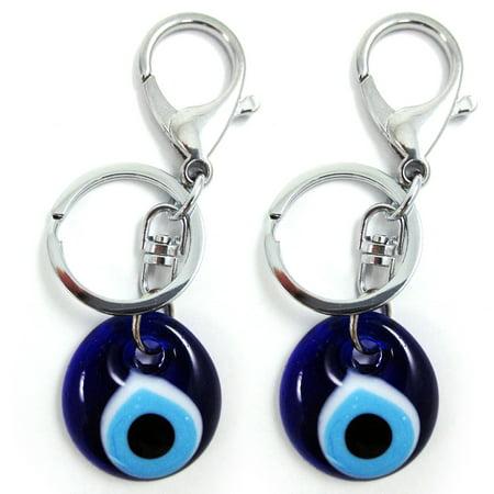 2 Blue Evil Eye Glass Keychain Ring Nazar Hamsa Good Lucky Charm Amulet Gift