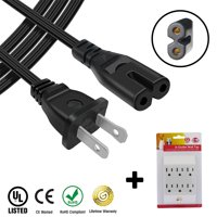 Sony PlayStation 4 (PS4) Compatible AC Power Adapter Cord PLUS 6 Outlet Wall Tap - 4 ft