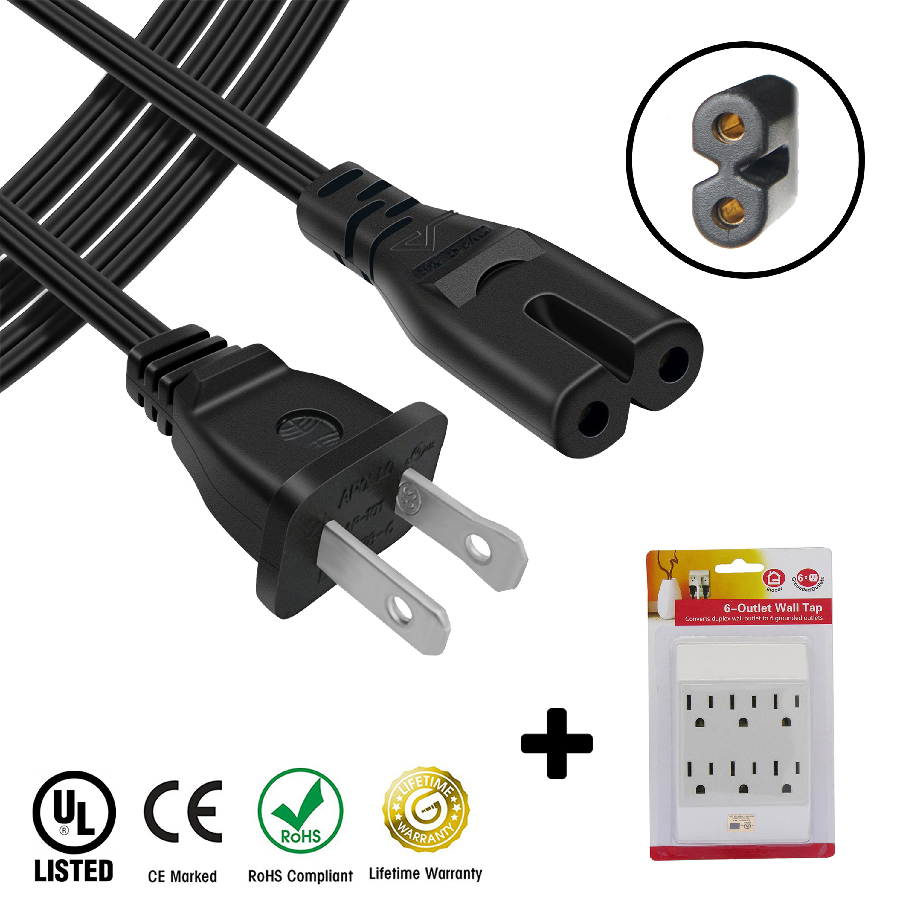 AC Power Cord Cable compatible for Samsung TV UN39FH5000F PLUS 6 Outlet Wall Tap - 1 ft
