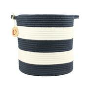 "Orino Cotton Rope Woven Storage Baskets 12"" with Handles Soft Durable Laundry Baskets Nursery Hamper Organizer for Kids' Toys Home Decorations Blanket Basket (12"", Medium, Navy Blue)"