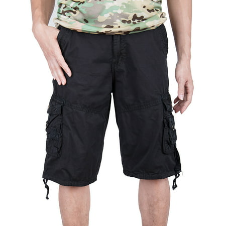SAYFUT Big Men's Military Style Cargo Shorts Big and Tall Sizes Relaxed Fit Twill Black Size
