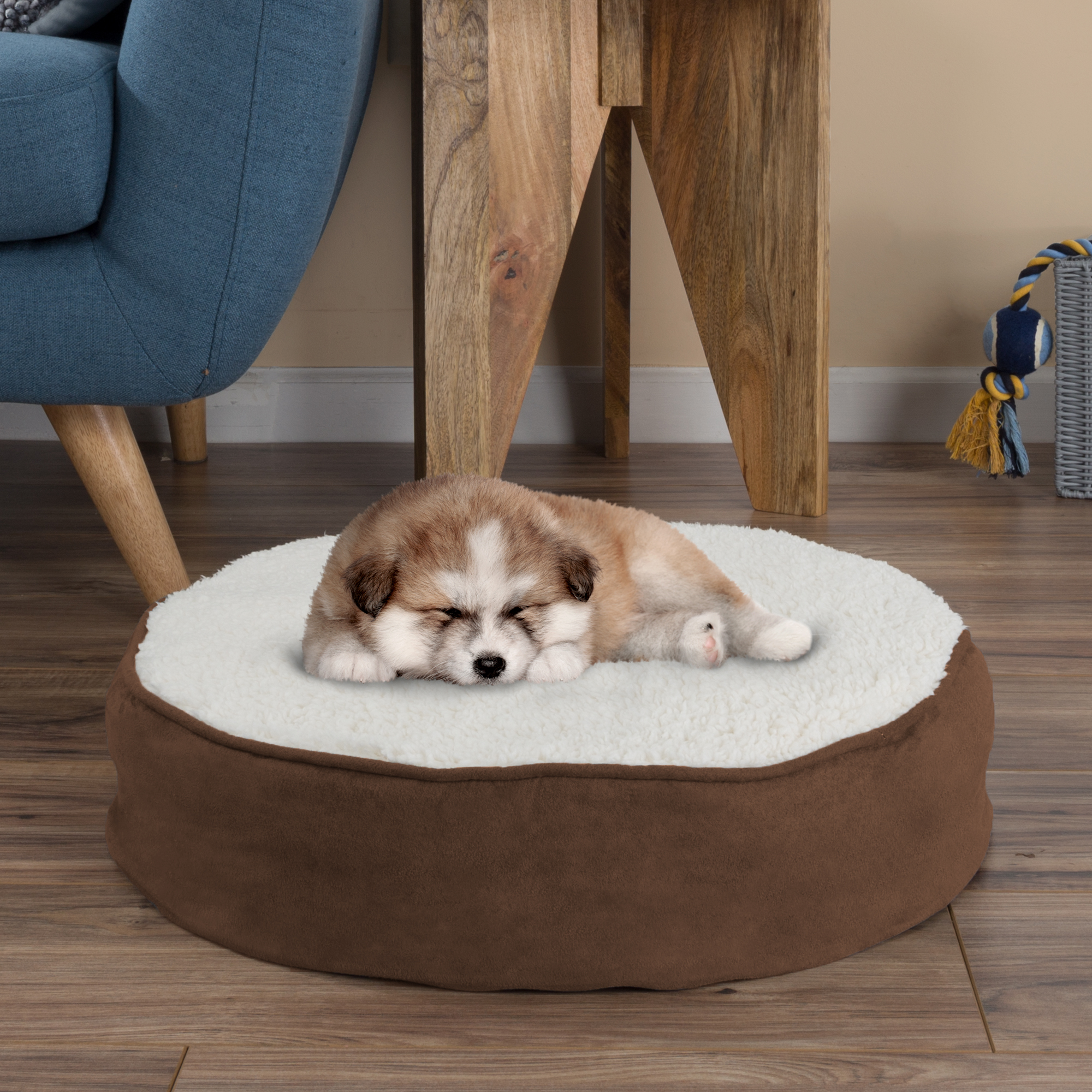 Round Pet Bed-Memory Foam Pillow Top Reversible Cat and Dog Bed with Removable Sherpa / Micro-Suede Machine Washable Cover 20 x 4.5 by PETMAKER