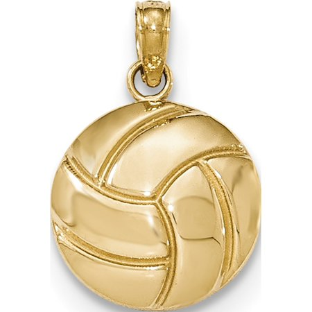 14k Yellow Gold Polished Volleyball Pendant / Charm