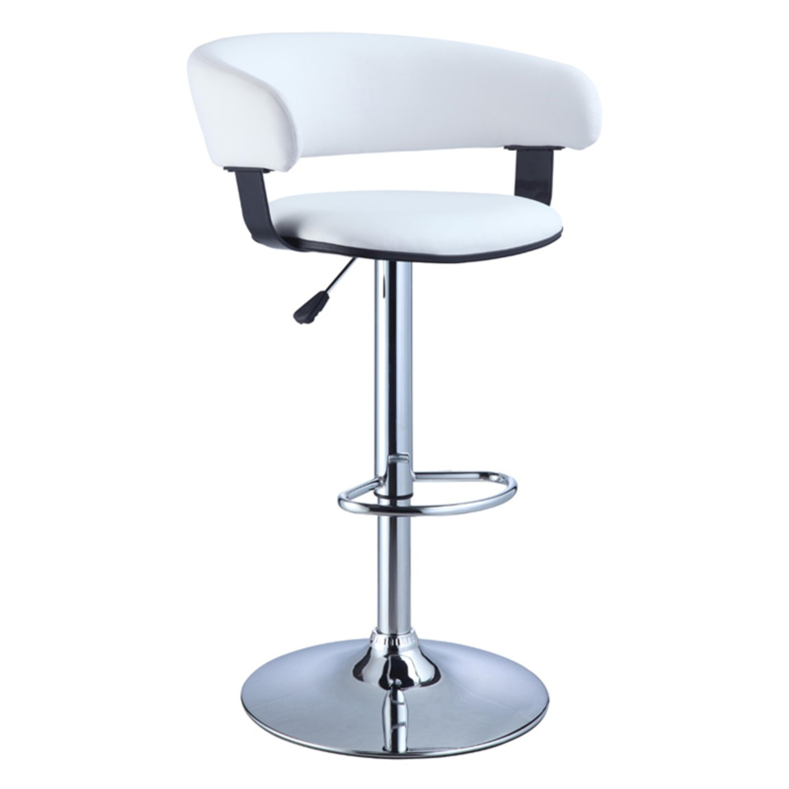 Powell Barrel Adjustable Height Swivel Bar Stool, White Faux Leather and Chrome by Powell