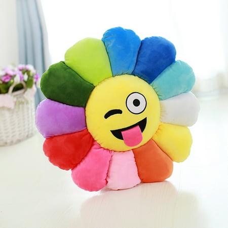 Emoji Plush Expression Flower Pillow Wink Face Walmart Com