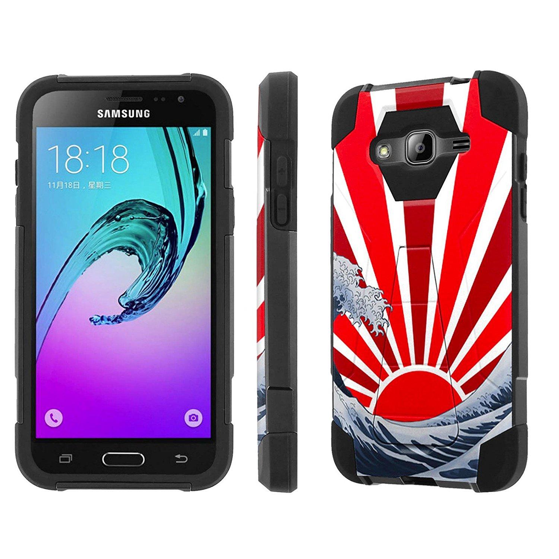 Samsung Galaxy J3 Case, [NakedShield] [Black/Black] Armor Tough Shock Proof Kickstand