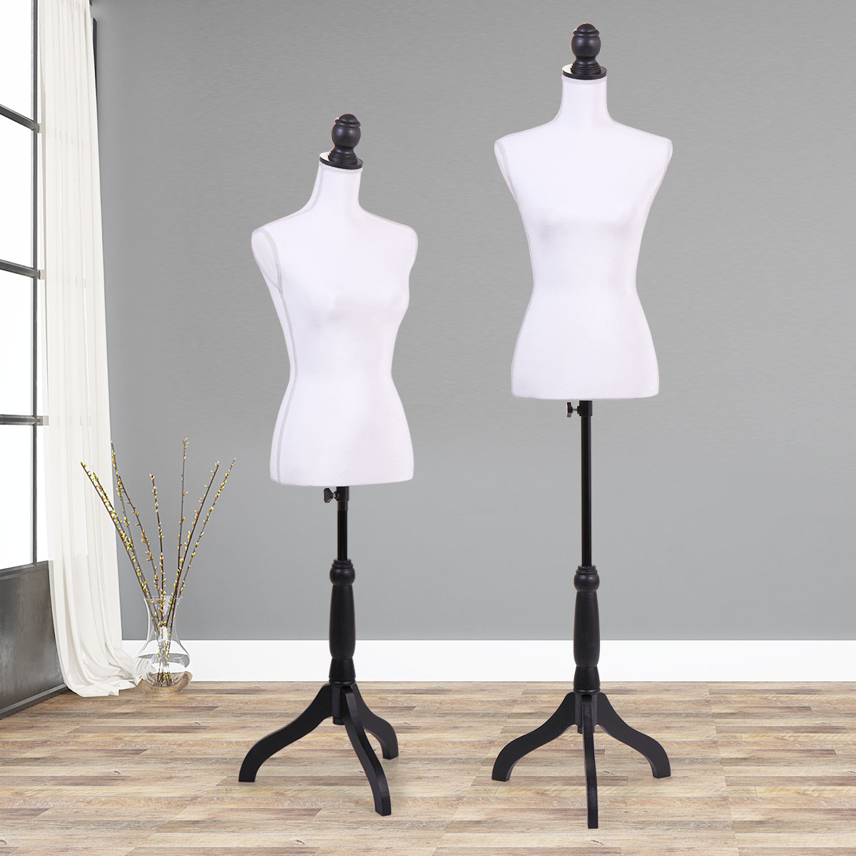 Jaxpety White Female Mannequin Torso Dress Clothing Form Display Sewing Mannequin W/ Tripod Stand New