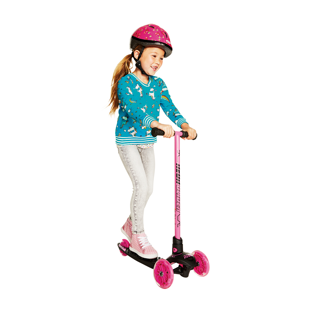 Neon Vybe Kick Scooter Glider Pink LED for Kids