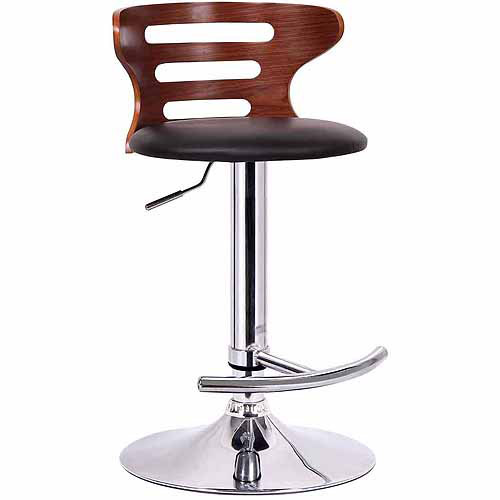 "Wholesale Interiors Buell 31"" Modern Bar-Height Stool, Walnut/Black"