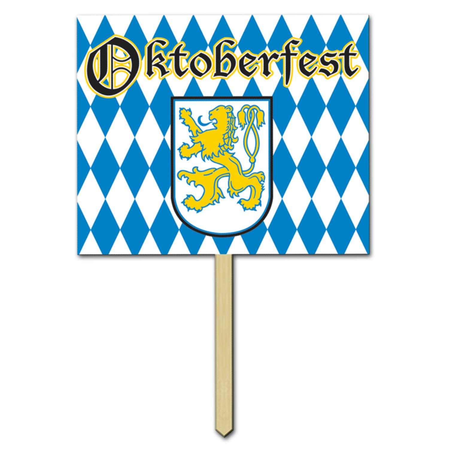 Pack of 6 White and Blue German Oktoberfest Party Yard Signs on Wooden Stakes 15""