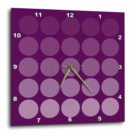 Tone Clock Circuit - 3dRose Violet Tone Gradient Polka Dots on black background, Wall Clock, 10 by 10-inch